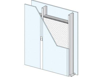 Sistema de revestimiento de gran altura formado por una sola estructura de acero galvanizado, a la que se atornilla una o dos placas de yeso laminado Knauf.