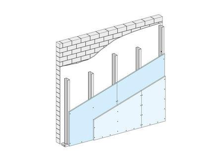 Sistema de revestimiento, formado por una estructura de acero galvanizado a la que se le atornilla una o más placas de yeso laminado Knauf.